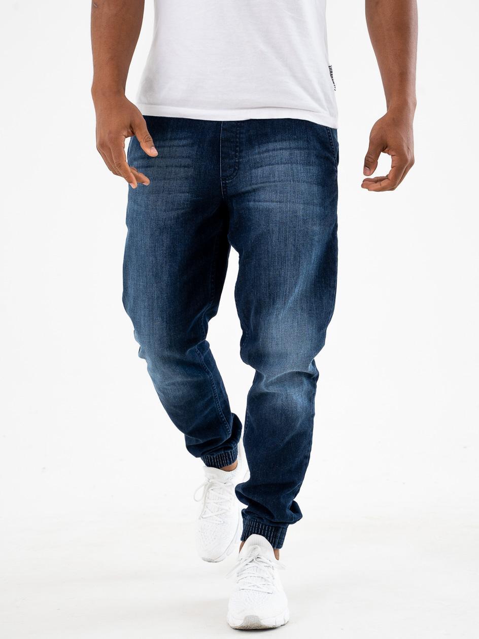 Spodnie Jeansowe Jogger Slim SSG Skin Sprane Ciemne Niebieskie copy