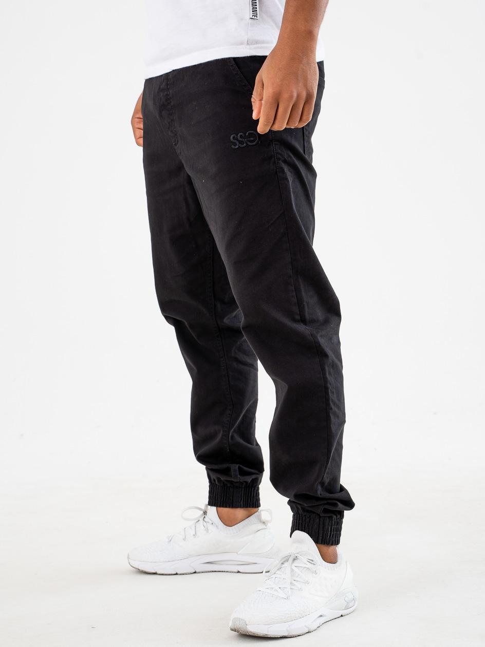 Spodnie Materiałowe Jogger Slim SSG Front Czarne