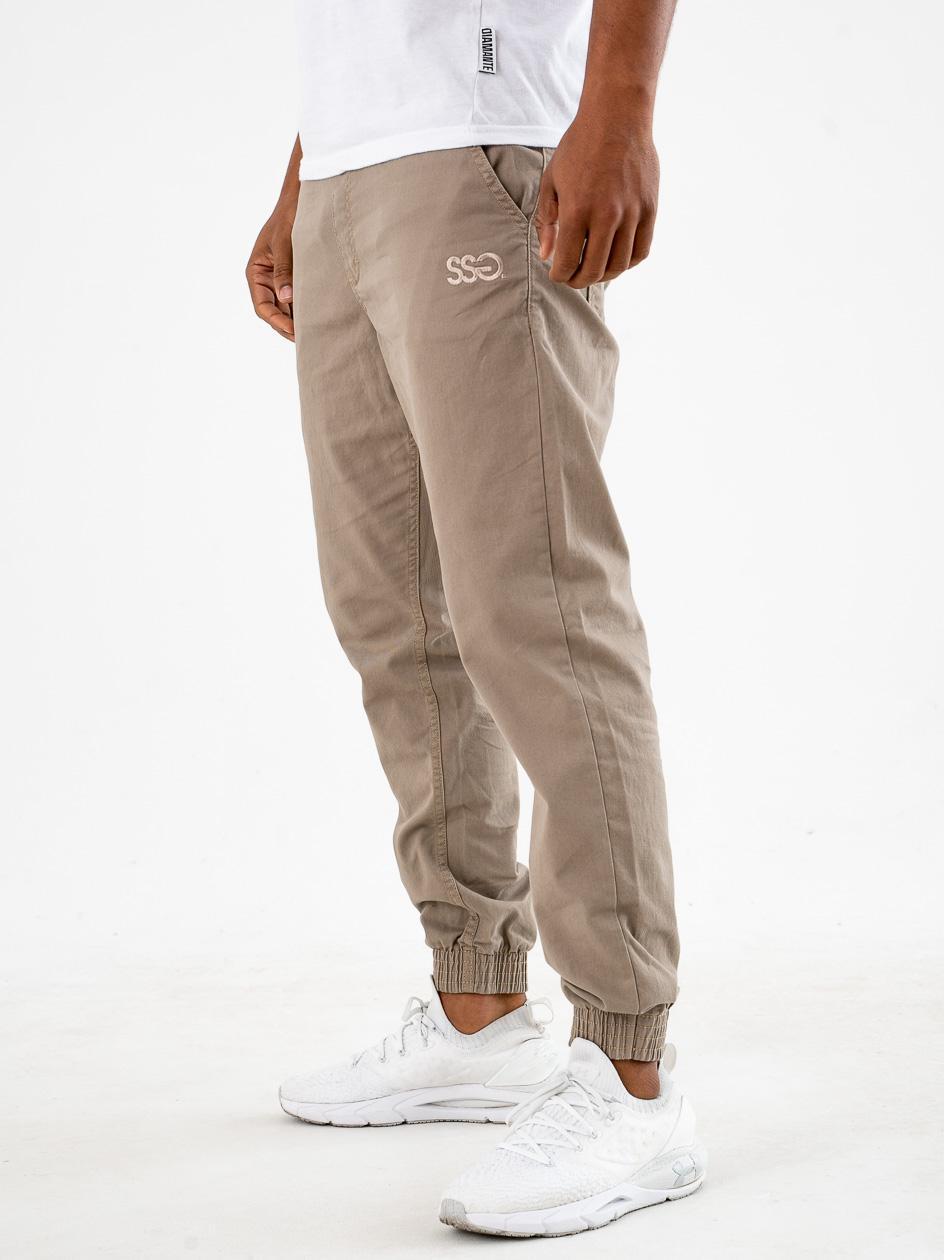 Spodnie Materiałowe Jogger Slim SSG Front Beżowe
