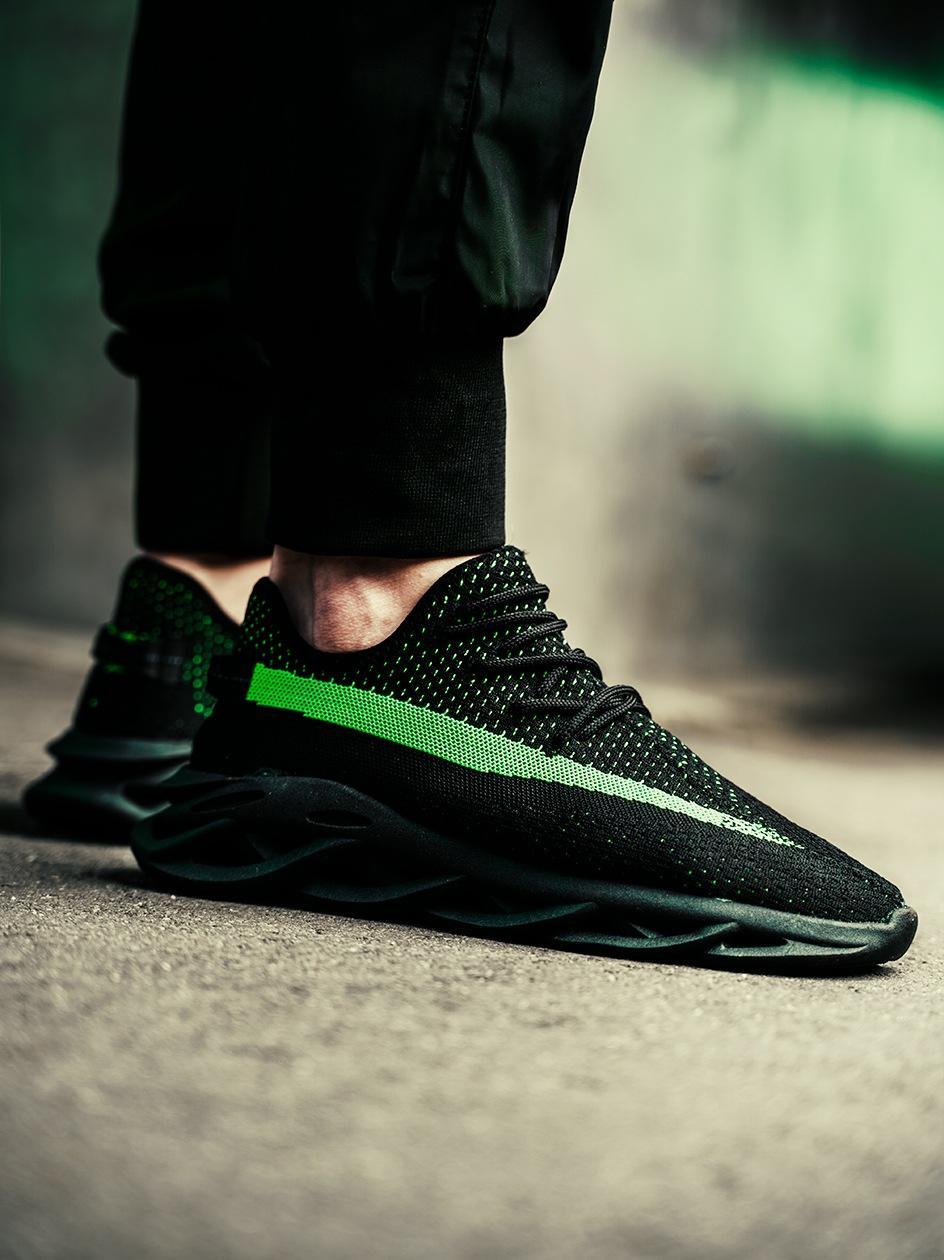 Buty Sportowe Sneakers Breezy Future Czarne / Limonkowe