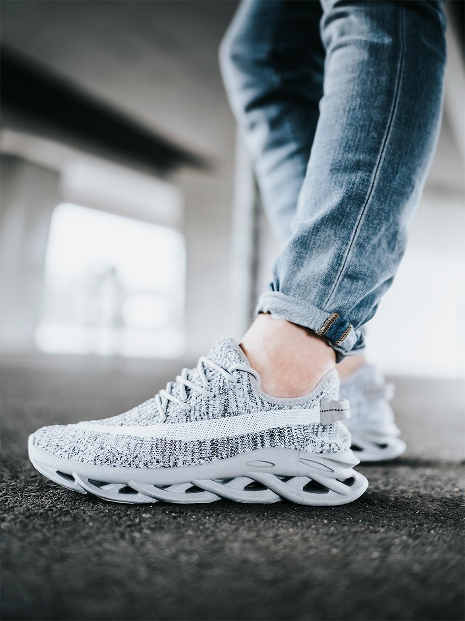 Buty Sportowe Sneakers Breezy Future Szare Melanż / Białe