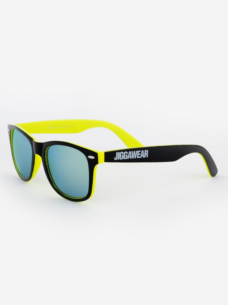 Okulary Przeciwsłoneczne Jigga Wear Name Contrast Czarne / Limonkowe / Niebieskie