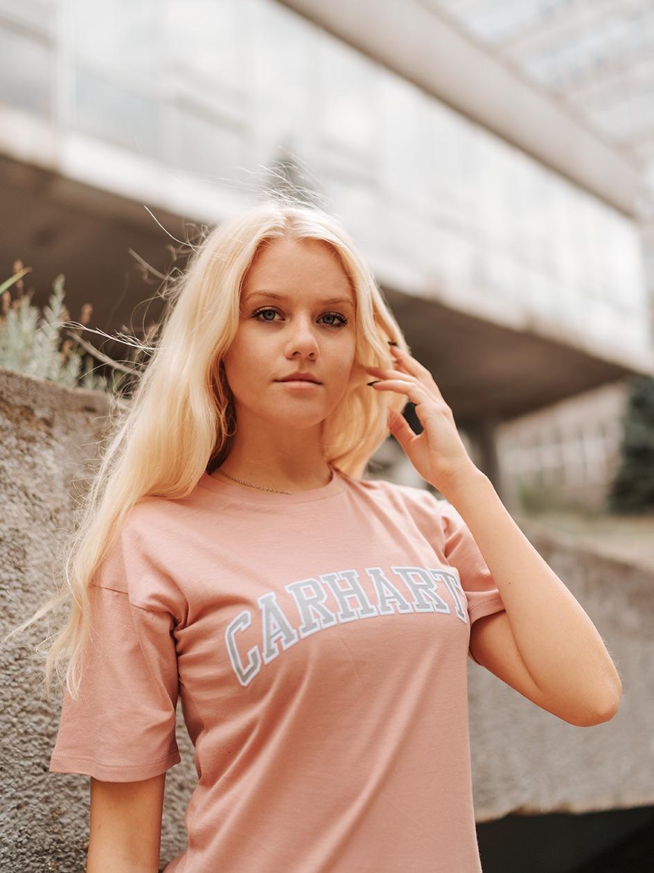 Damska Koszulka Z Krótkim Rękawem Carhartt WIP Princeton Różowa