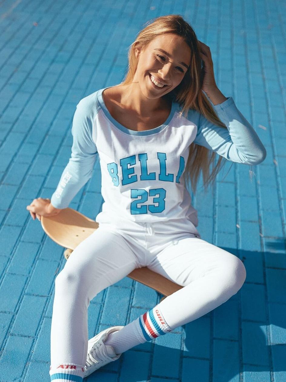 Koszulka Z Długim Rękawem ATR Wear Bella Biała / Błękitna