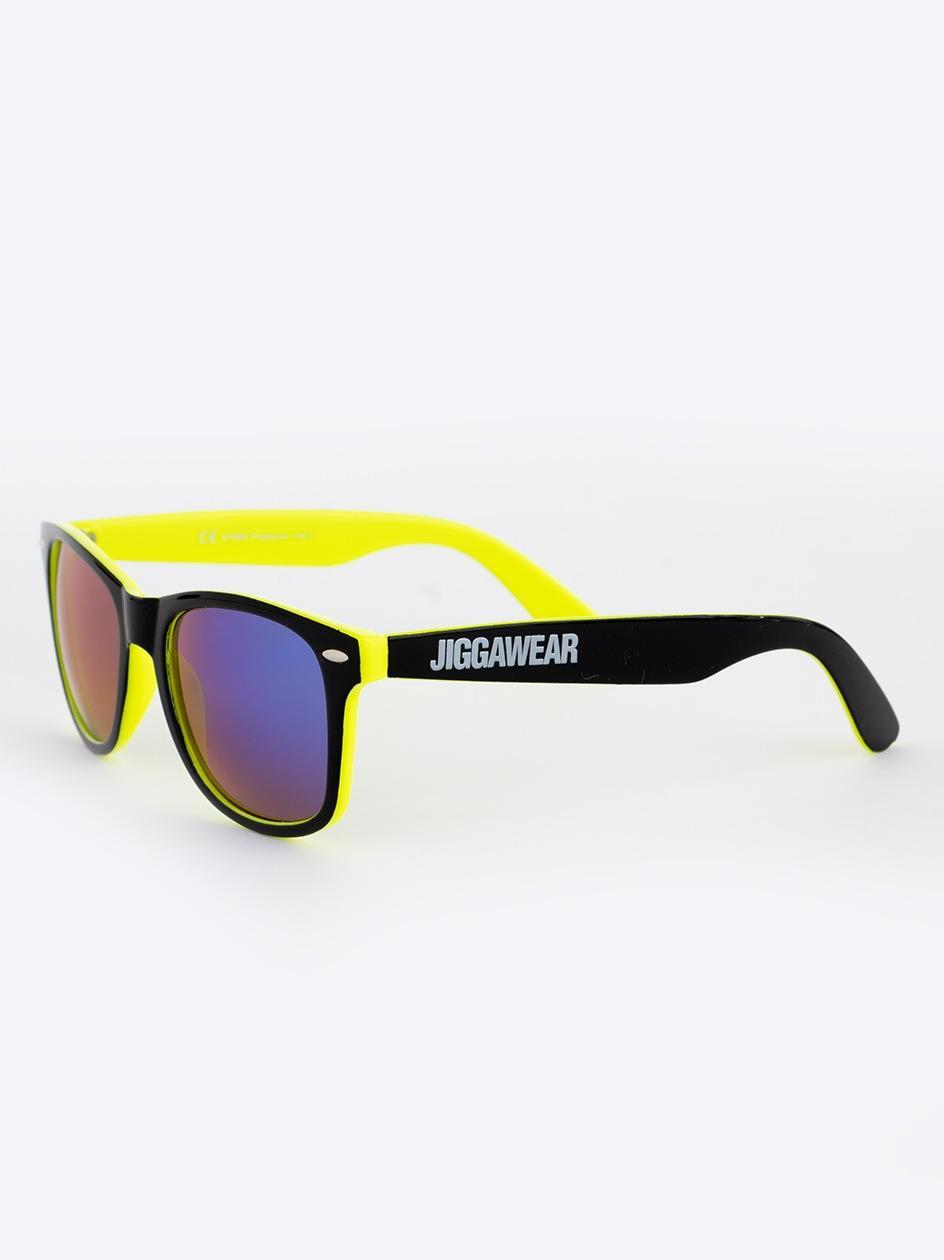 Okulary Przeciwsłoneczne Jigga Wear Name Contrast Czarne / Limonkowe / Fioletowe