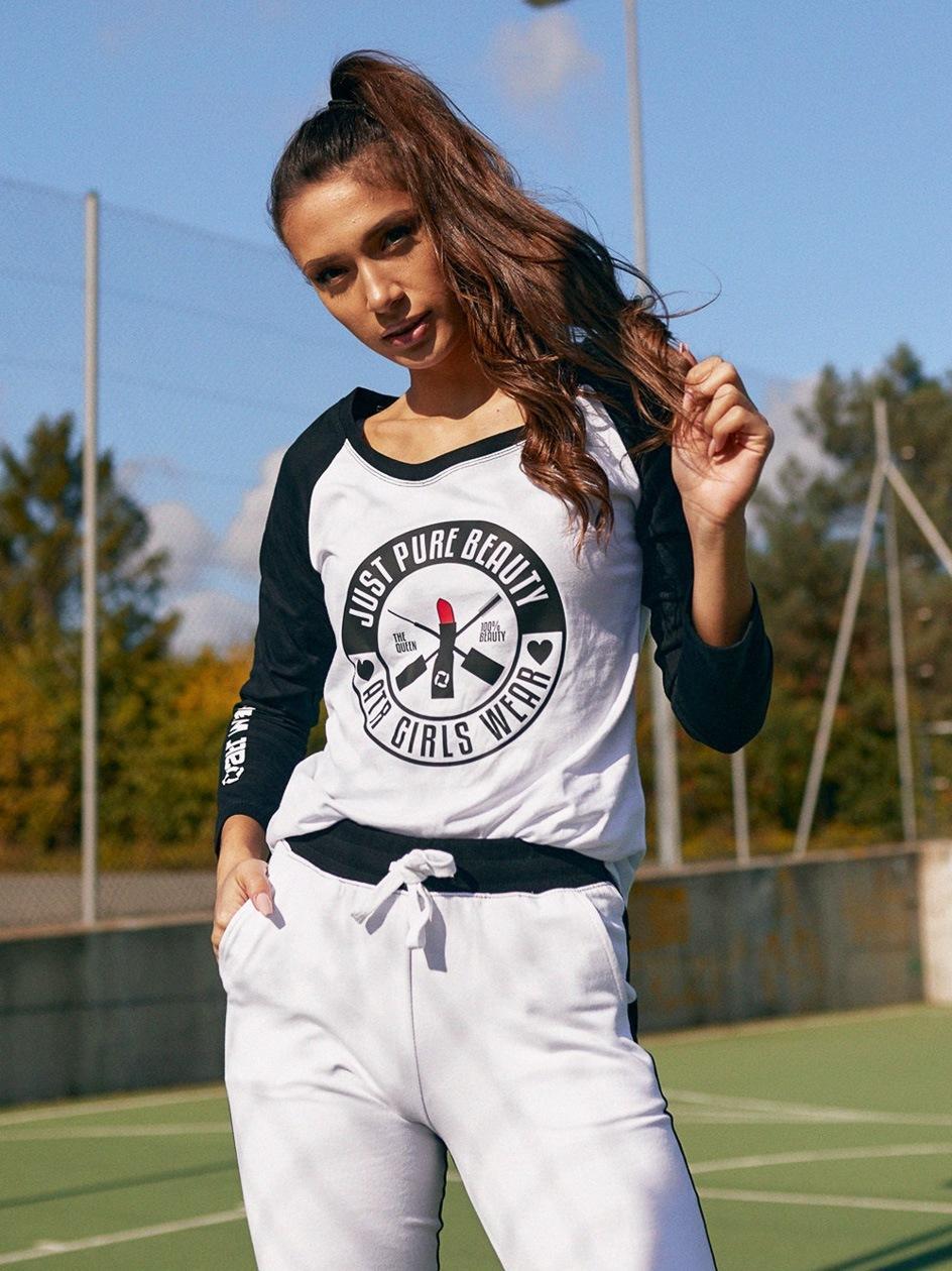 Koszulka Z Długim Rękawem ATR Wear Just Pure Beauty Biała / Czarna