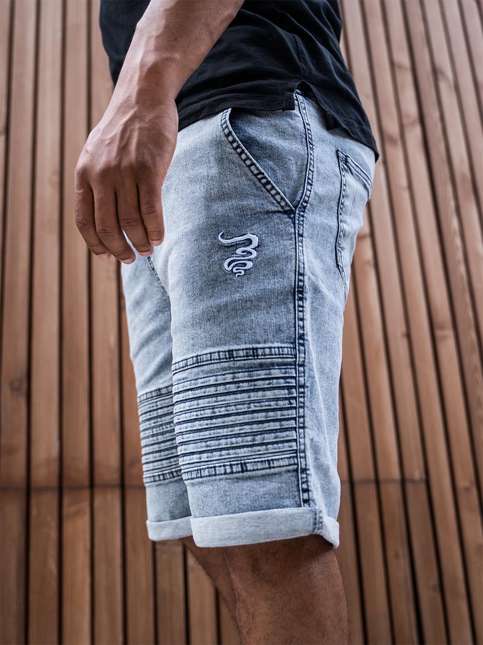 Krótkie Spodenki Jeansowe Ze Ściągaczem Grube Lolo Front Smoke Biker Niebieskie Marmurkowe