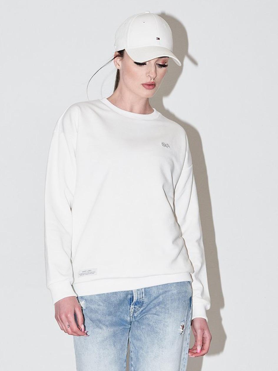 Damska Bluza Bez Kaptura Basic Biała