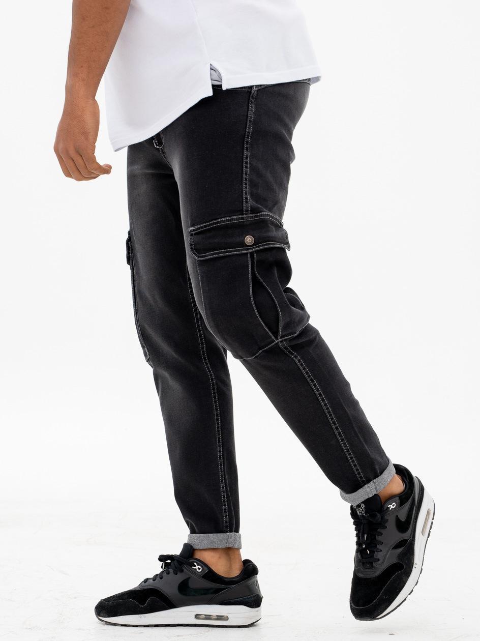 Spodnie Jeansowe Bojówki Stoprocent Arbeit Czarne