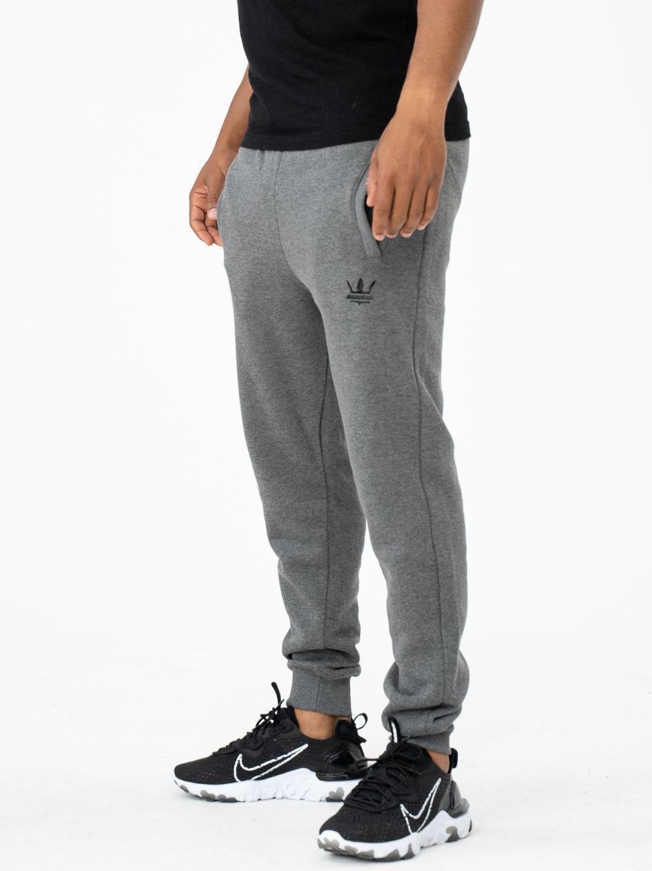 Spodnie Dresowe Jigga Wear Mini Crown Ciemne Szare / Czarne PRODUKT Z WADĄ