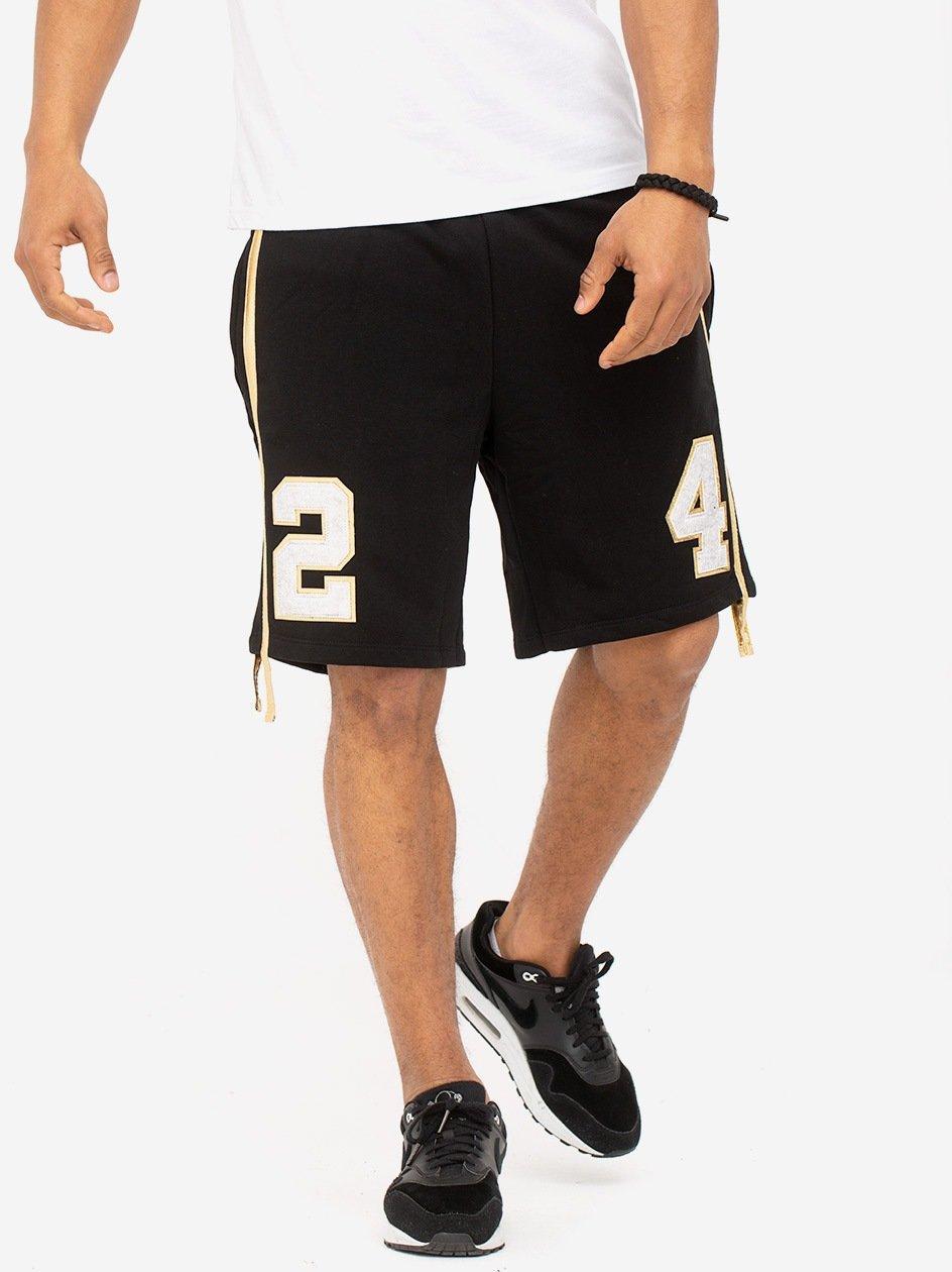 Gold Lampas Short Black