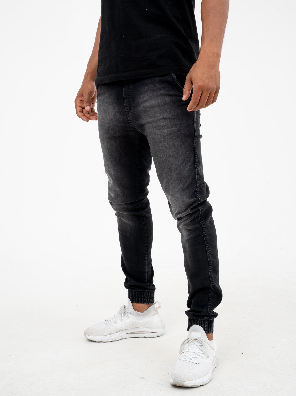 Spodnie Jeansowe Jogger BOR Classic Wipe Czarne