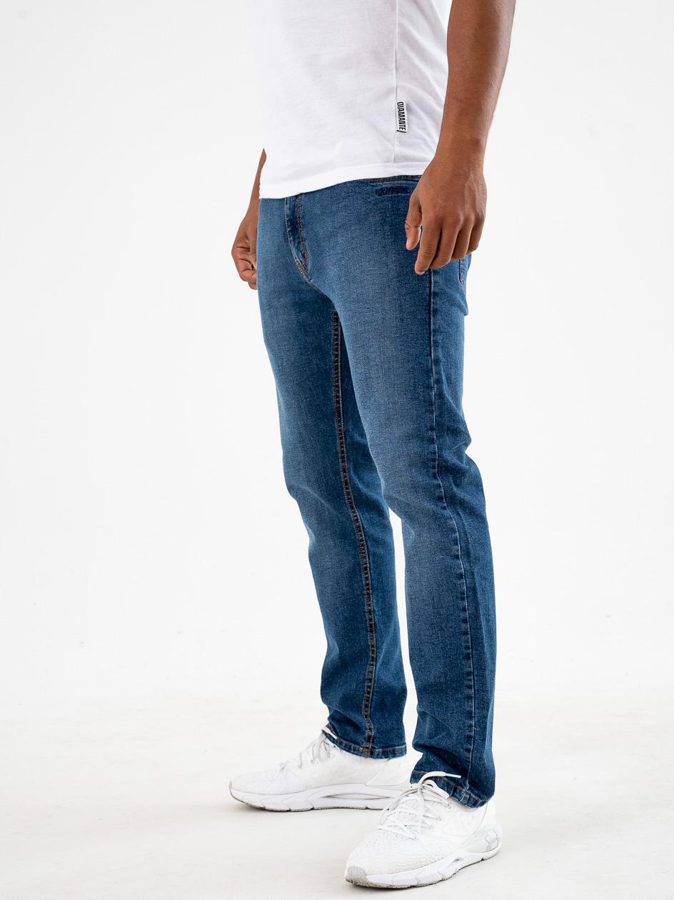 Spodnie Jeansowe Regular Prosto Feec Niebieskie
