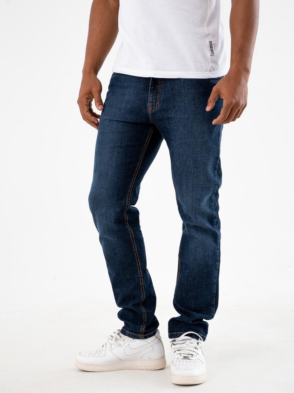 Spodnie Jeansowe Regular Prosto Feec Ciemne Niebieskie