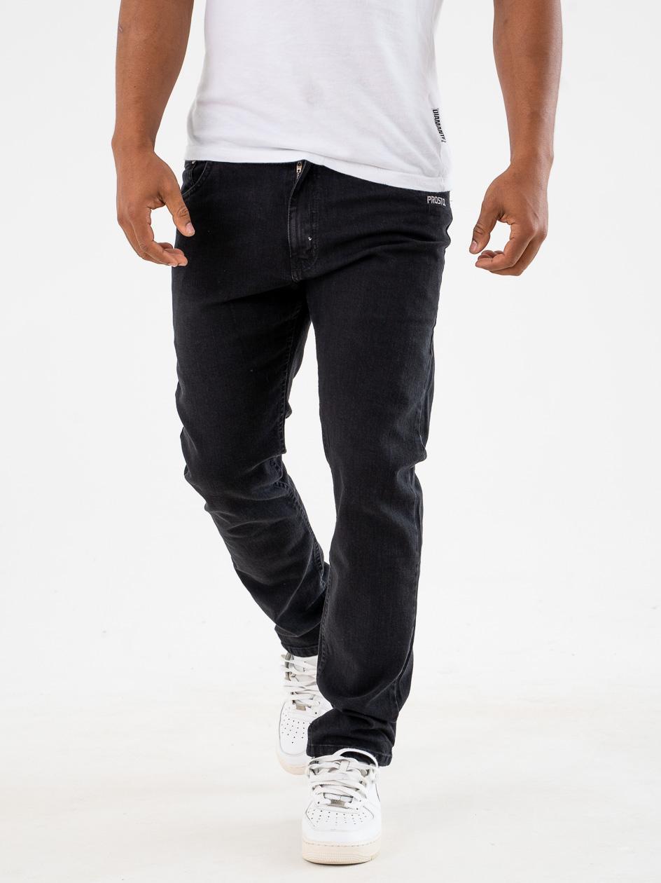 Spodnie Jeansowe Regular Prosto Feec Czarne