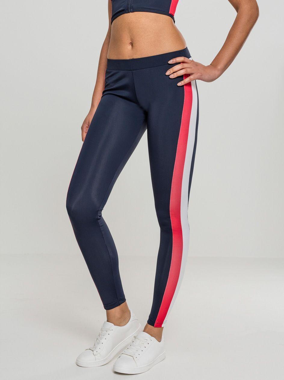 Ladies Side Stripe Leggings Navy Red White TB1896