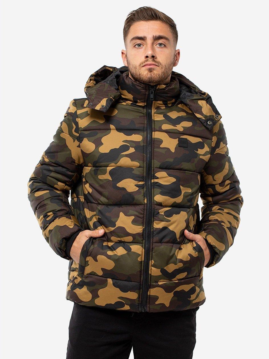 Hooded Camo Puffer Jacket Wood Camo TB2426