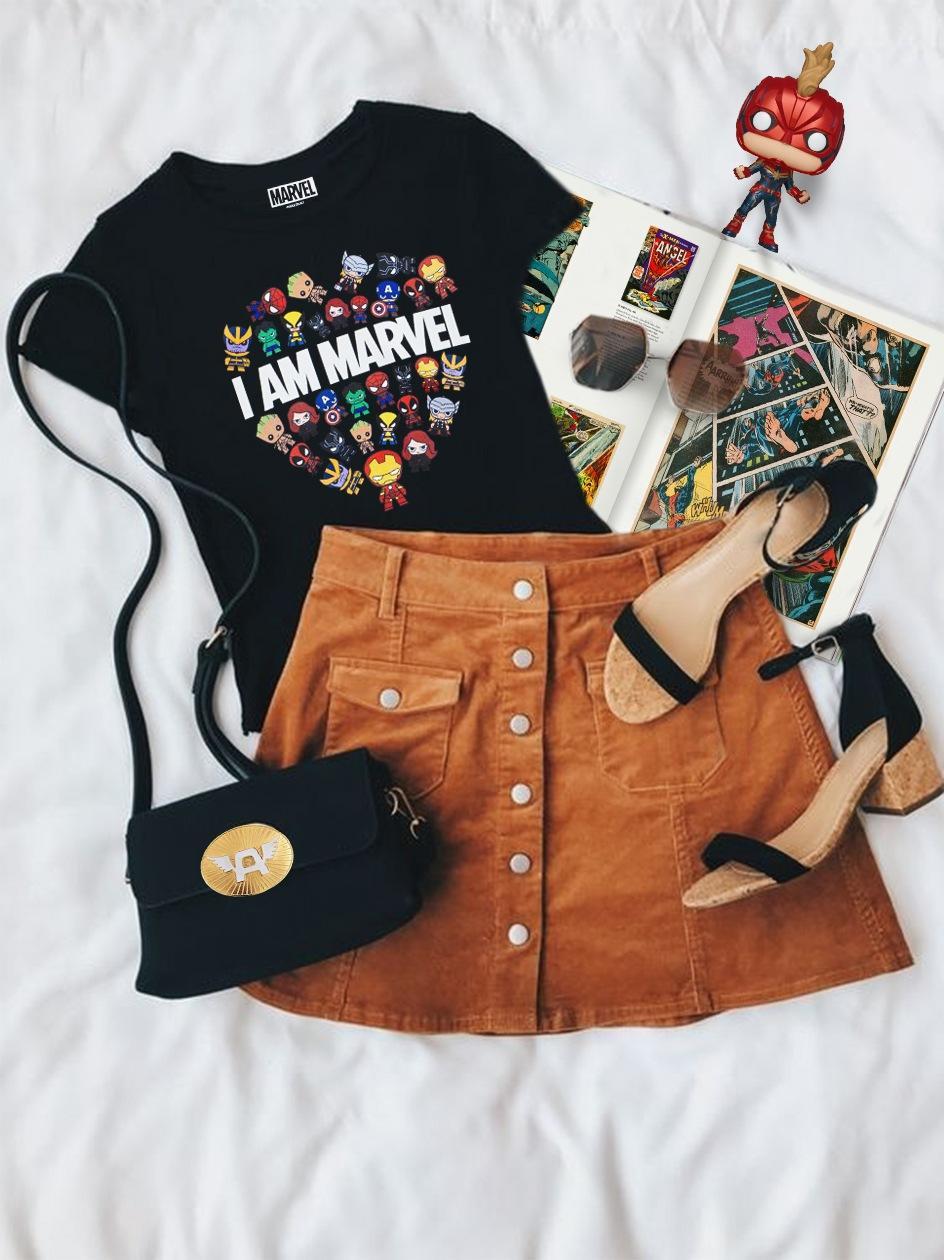 Damska Koszulka Z Krótkim Rękawem Marvel Comics I AM MARVEL Czarna