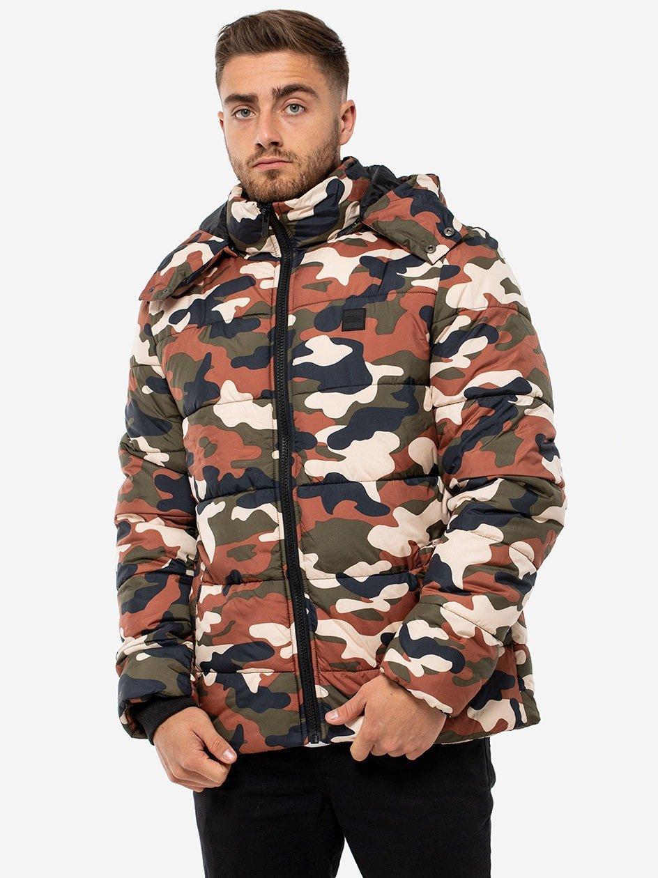 Hooded Camo Puffer Jacket Rusty Camo TB2426