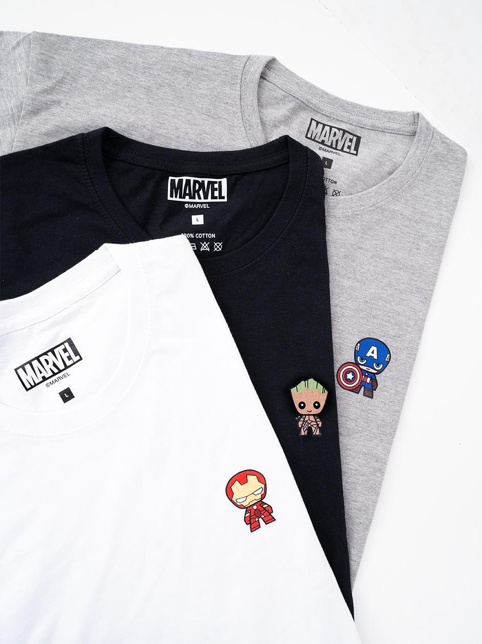 Zestaw 3 Koszulek Marvel Comics Mini Characters Czarna / Biała / Szara