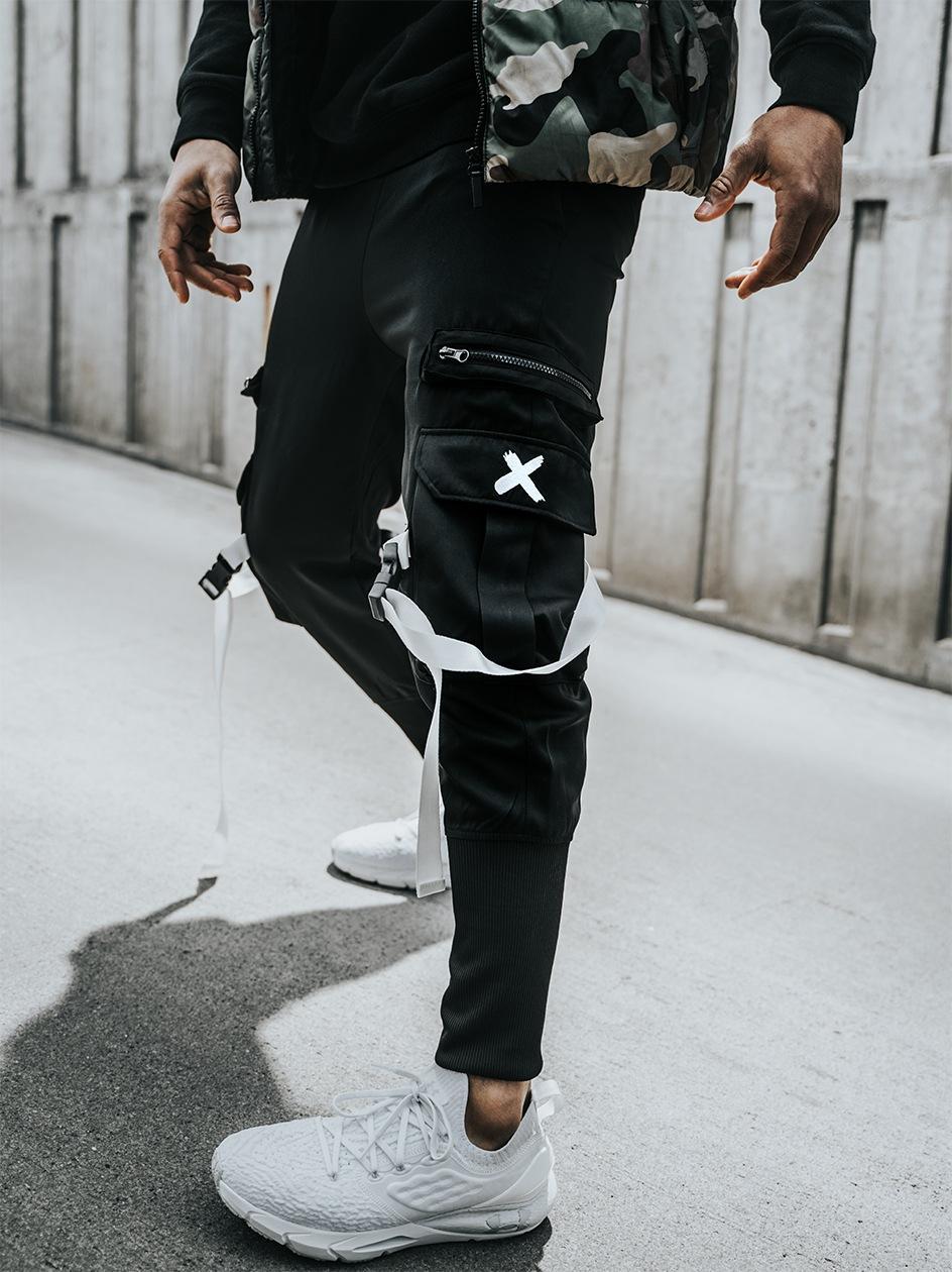 Spodnie Materiałowe Jogger Point X Lock Cargo Czarne / Białe