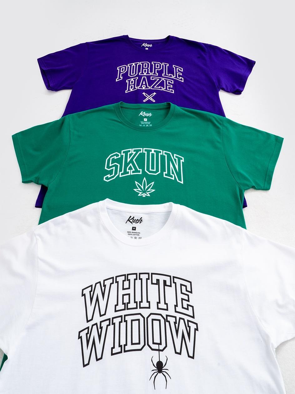 Zestaw 3 T-Shirtów Kush Brand Zielony / Biały / Fioletowy