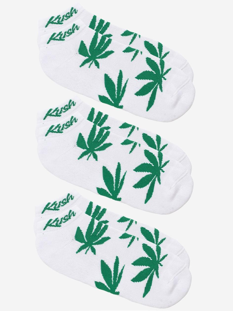 Zestaw 3 Par Skarpet Kush Smokers Białe / Zielone