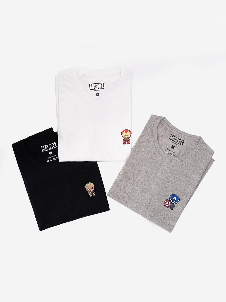 Zestaw 3 Damskich T-Shirtów Marvel Mini Heroes Czarny / Biały / Szary