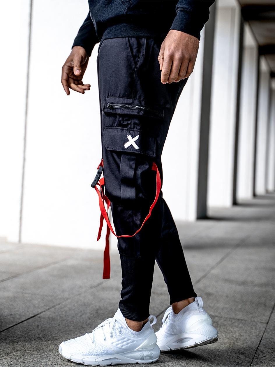 Spodnie Materiałowe Jogger Point X Lock Cargo Czarne / Czerwone