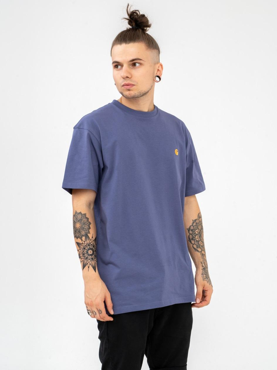 Koszulka Z Krótkim Rękawem Carhartt WIP Chase Fioletowa / Złota