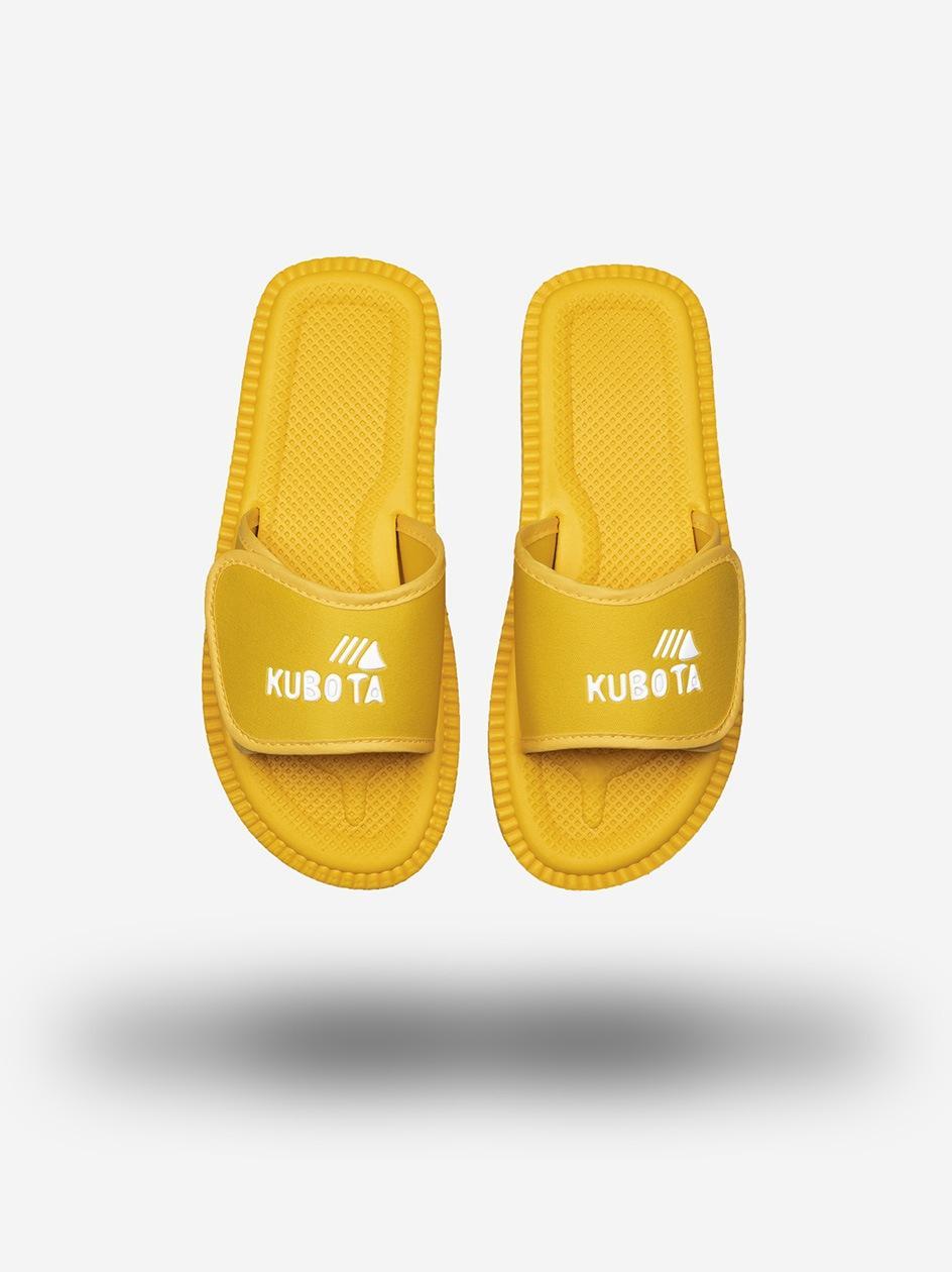 Klapki Kubota Na Rzep Logo Żółte