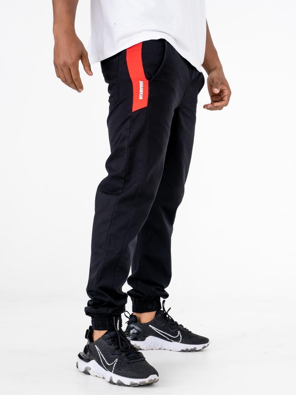 Spodnie Materiałowe Jogger Jigga Vertical Name Czarne / Czerwone