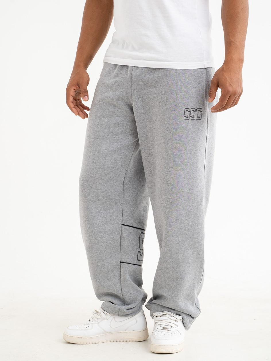 Spodnie Dresowe Baggy SSG Pipping Outline Jasne Szare