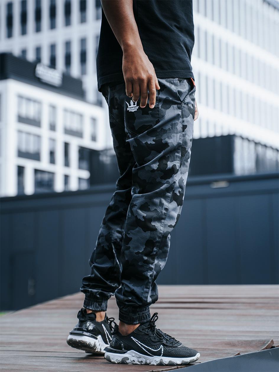 Spodnie Materiałowe Jogger Ze Ściągaczem Jigga Wear Crown Szare Camo