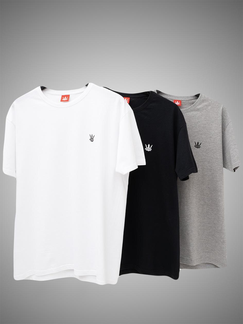 Zestaw 3 T-Shirtów Jigga Wear Mini Crown Czarna / Biała / Szara