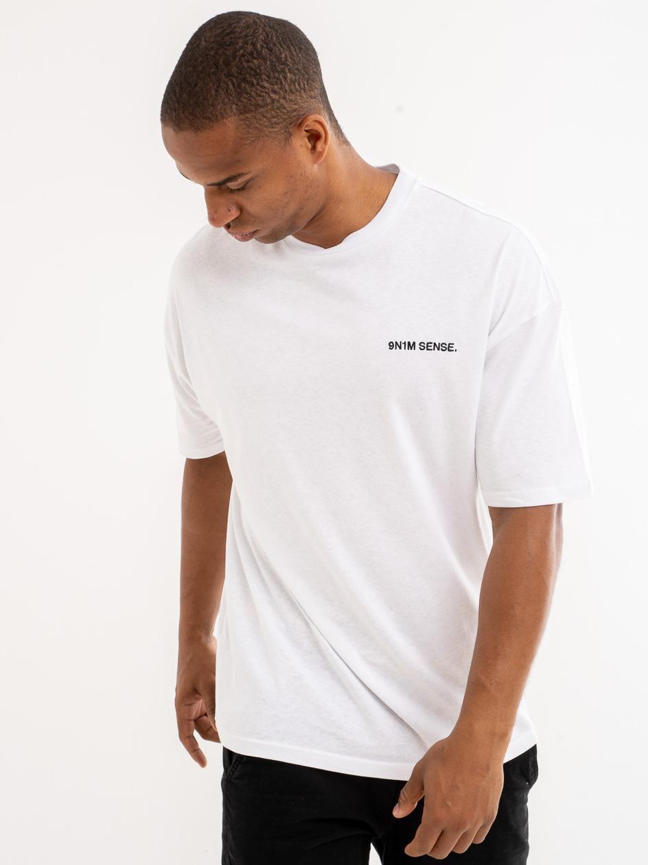 Koszulka Z Krótkim Rękawem 9N1M Sense. Logo Biała