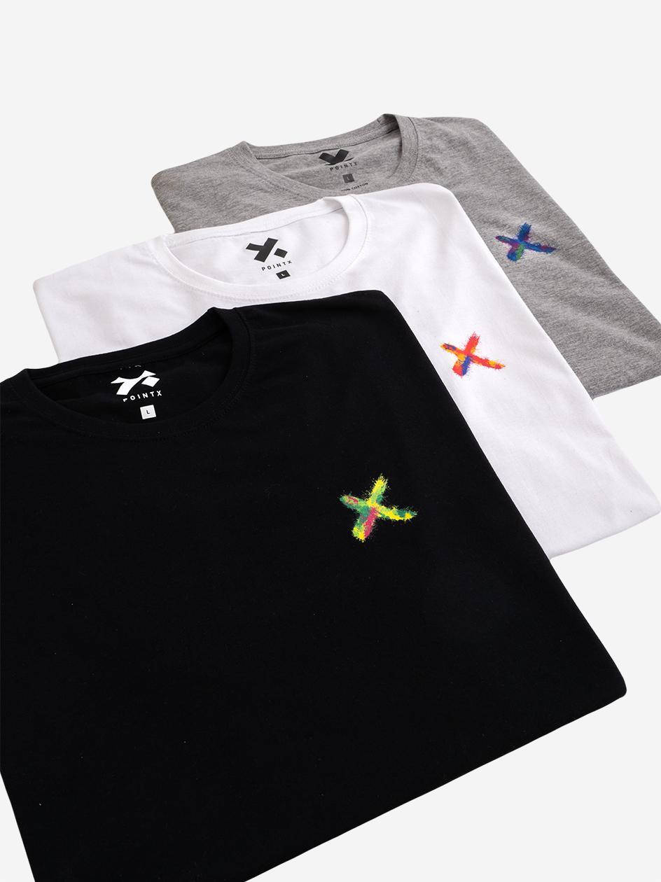 Zestaw 3 T-Shirtów Point X Mini X Spray Czarny / Biały / Szary