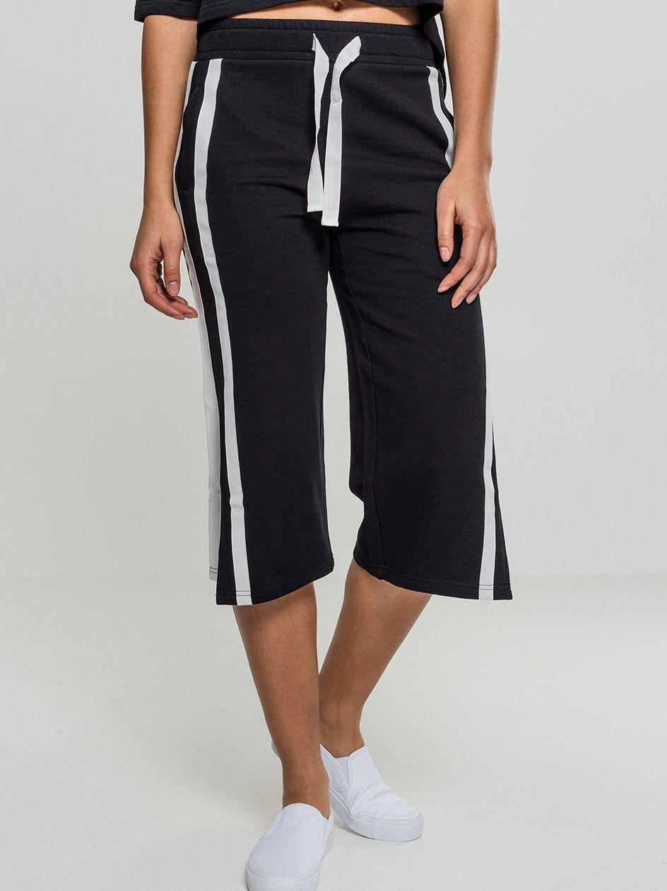 Ladies Taped Terry Culotte Black White TB1977