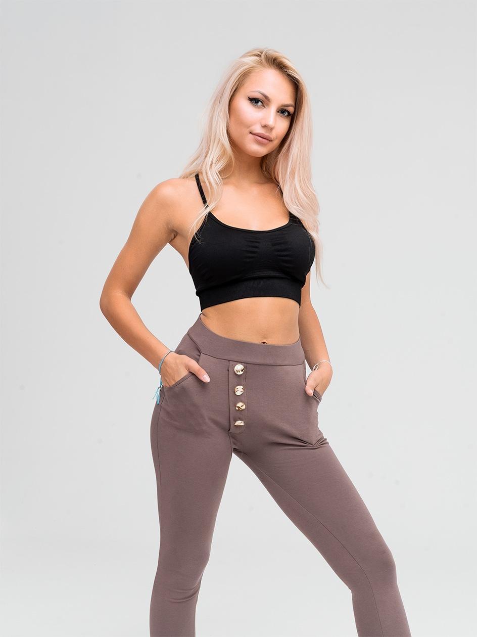 Spodnie Dresowe Point X Button Ciemne / Kawowe