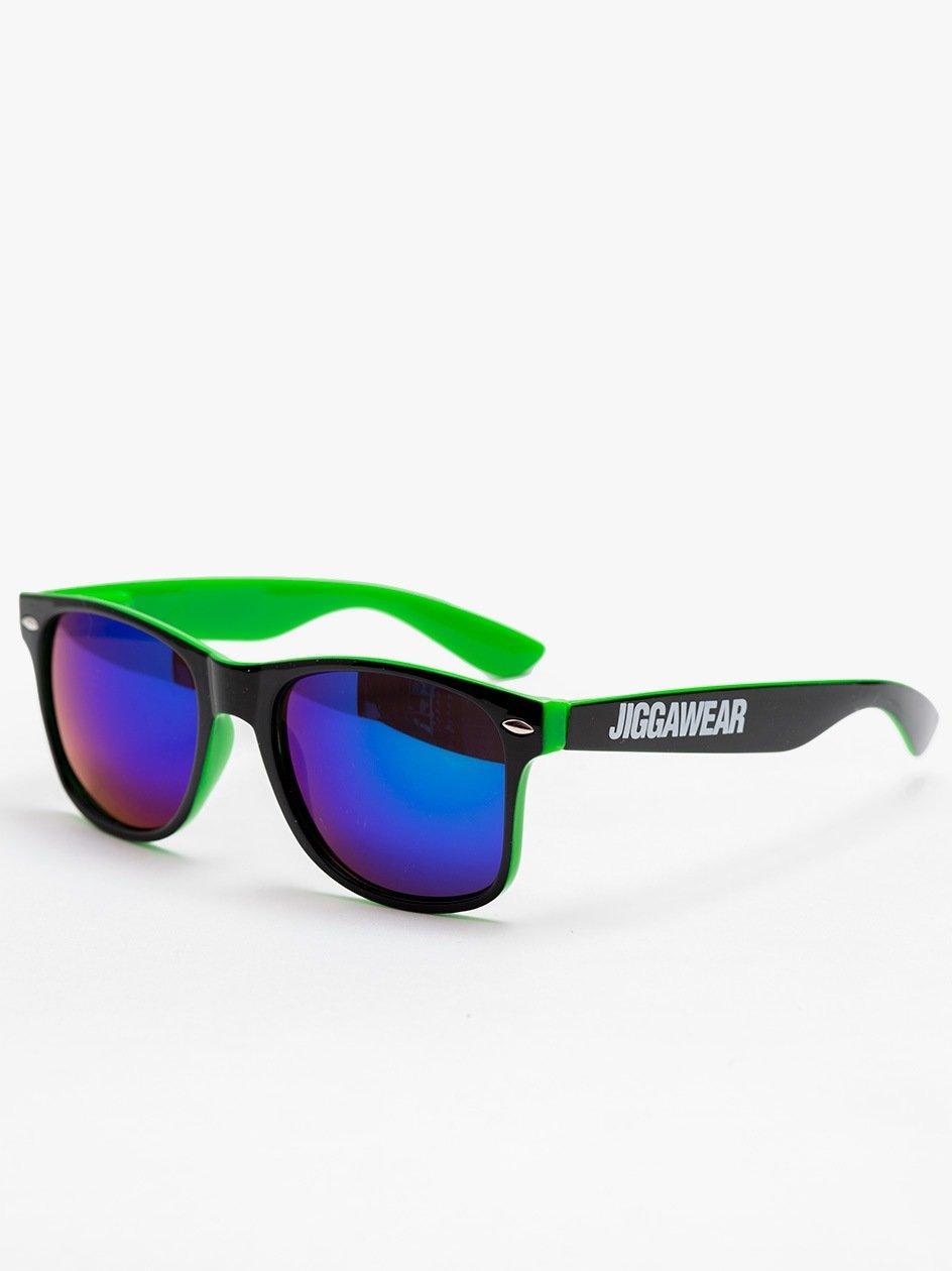 Okulary Przeciwsłoneczne Jigga Wear Name Contrast Wayfarer Czarne / Zielone / Fioletowe