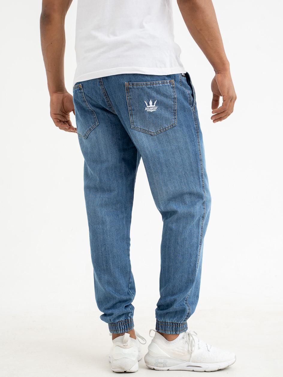 Spodnie Jeansowe Jogger Jigga Crown Sprane Średnie Niebieskie