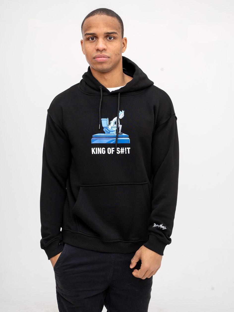 Bluza Z Kapturem Rick And Morty King Of S#!t Czarna