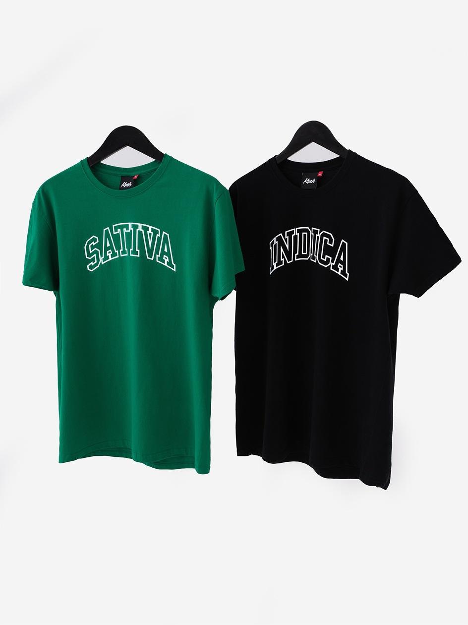 Zestaw 2 T-Shirtów Kush Sativa Indica Zielony / Czarny
