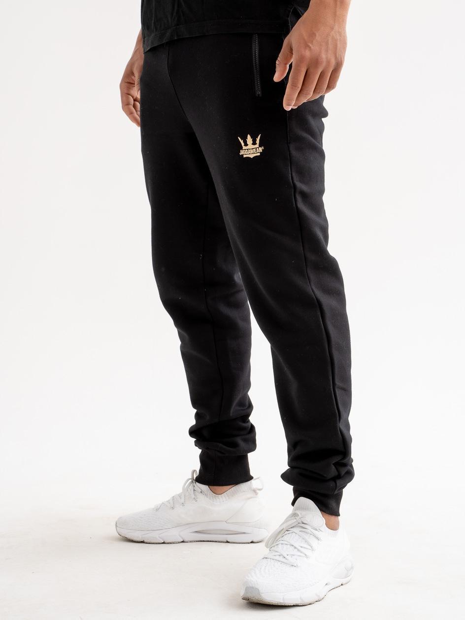 Spodnie Dresowe Premium Jigga Wear Small Logo Czarne / Złote Logo