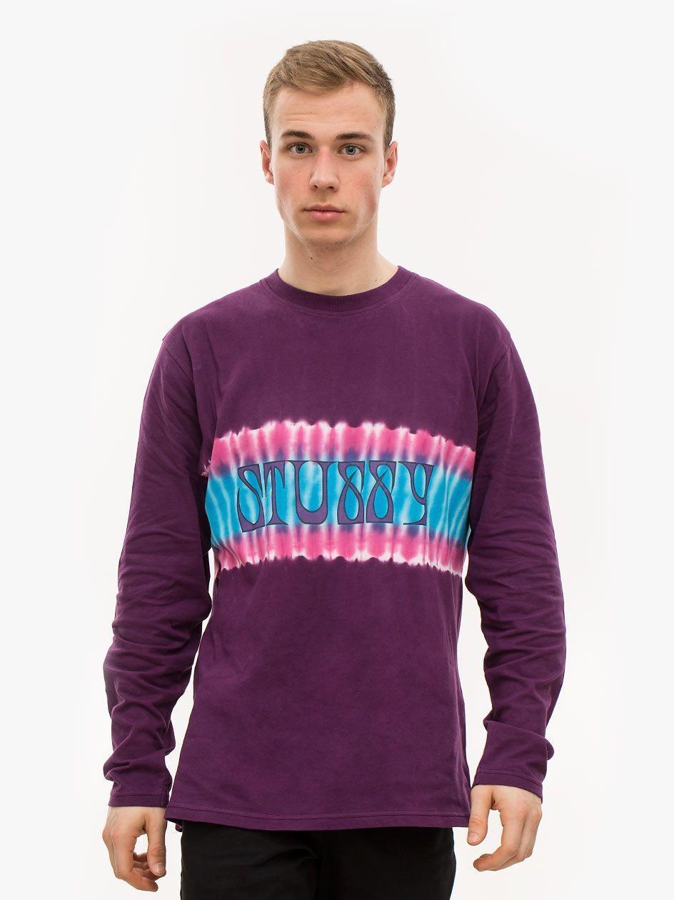 Tie Dye Stripe LS Jersey Purple