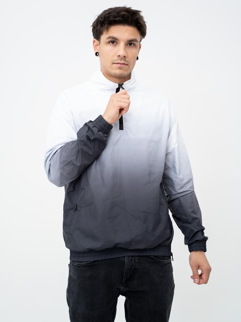 Sportowa Bluza Bez Kaptura Rozpinana Do Połowy TB3125 Czarna / Biała