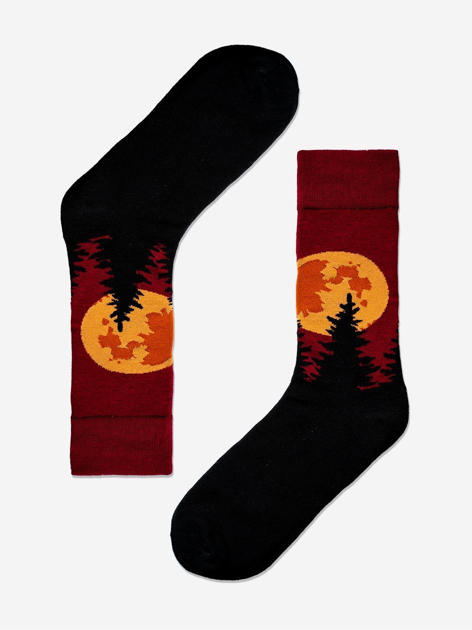 Długie Skarpety We Wzory MyStars x Blind Box Full Moon Bordowe