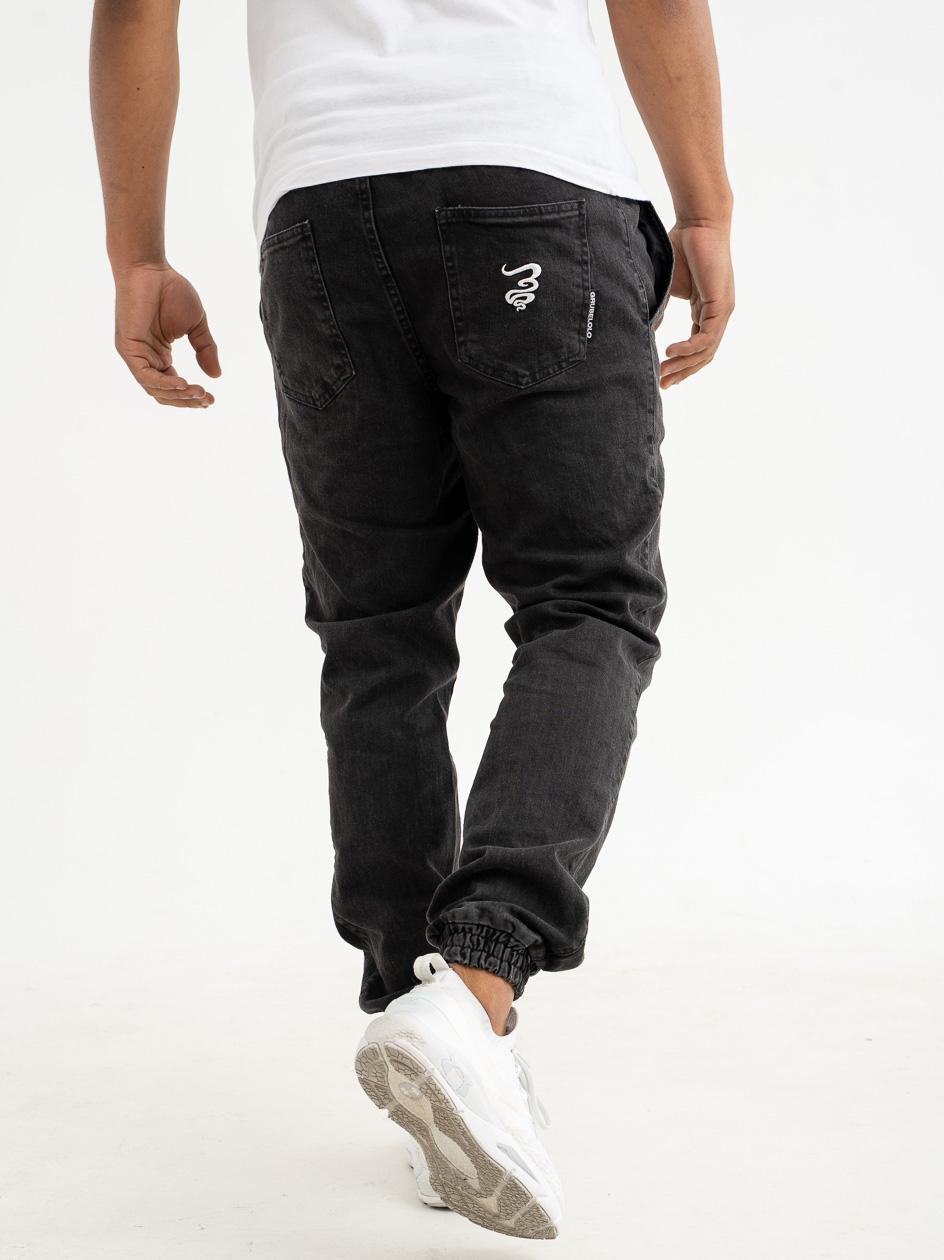 Spodnie Jeansowe Jogger Grube Lolo Smoke Pocket Sprane Czarne / Białe