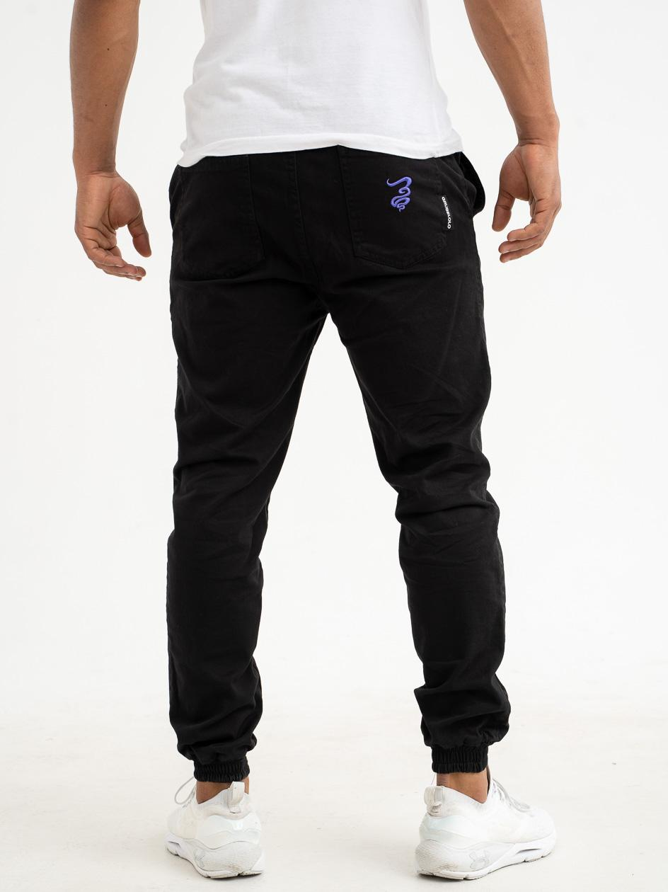 Spodnie Materiałowe Jogger Grube Lolo Smoke Pocket Czarne / Fioletowe