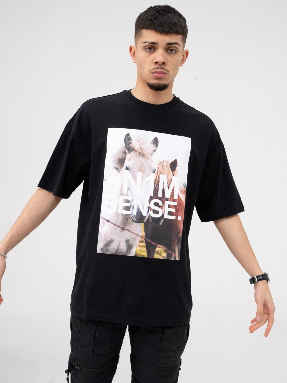 Koszulka Z Krótkim Rękawem 9N1M Sense. Horses Czarna